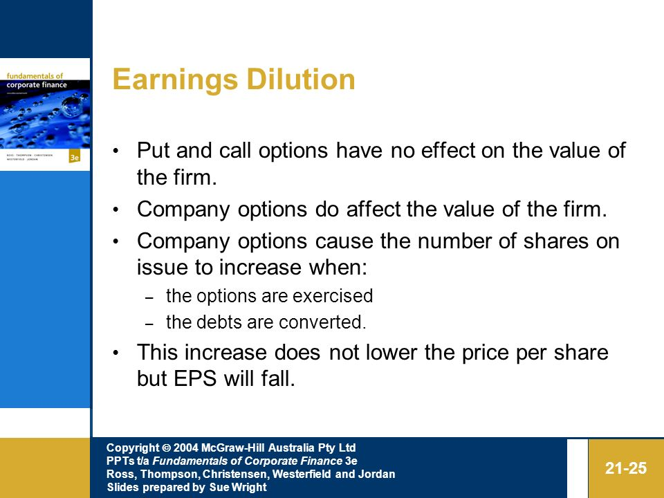 Earnings Dilution Put and call options have no effect on the value of the firm. Company options do affect the value of the firm.