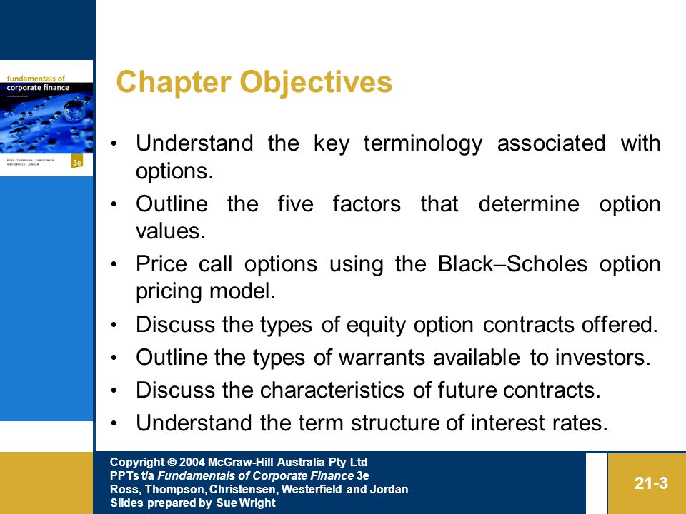 Chapter Objectives Understand the key terminology associated with options. Outline the five factors that determine option values.
