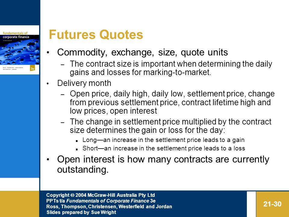 Futures Quotes Commodity, exchange, size, quote units