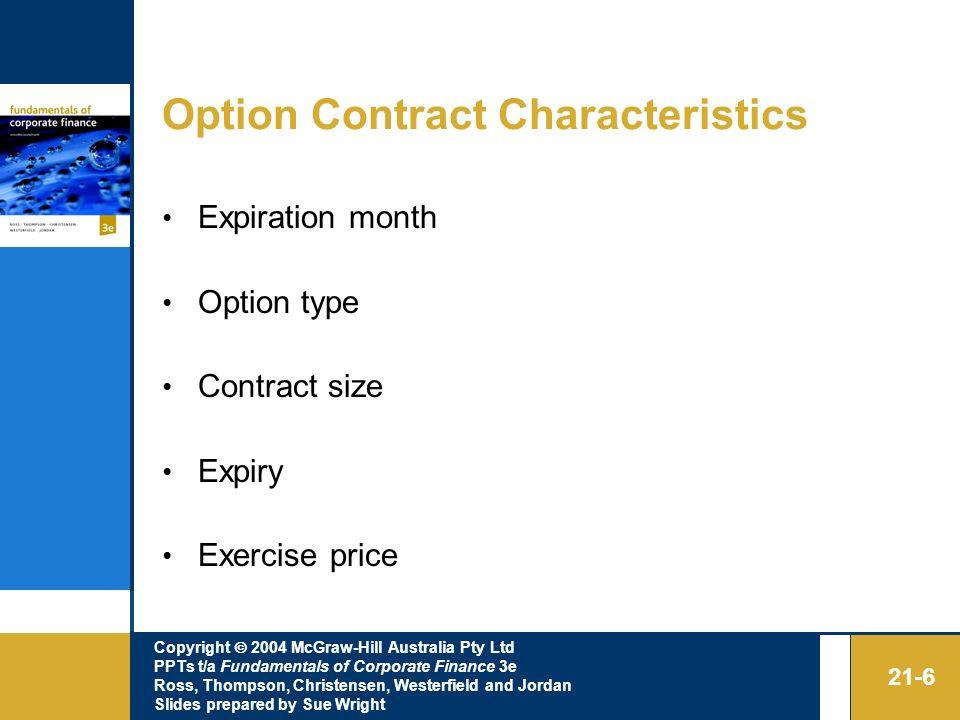 Option Contract Characteristics