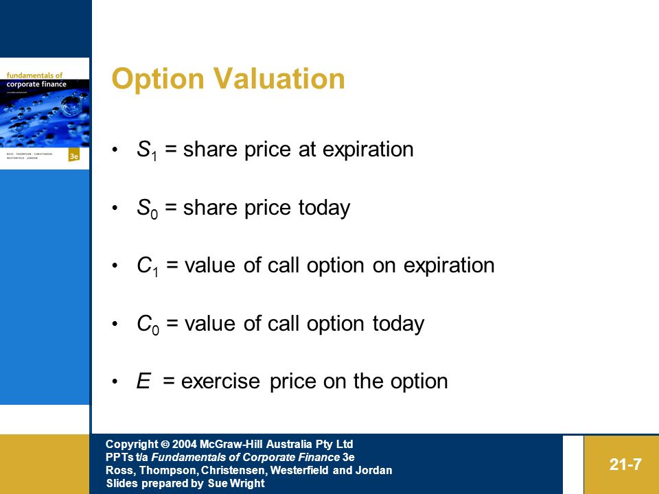 Option Valuation S1 = share price at expiration S0 = share price today