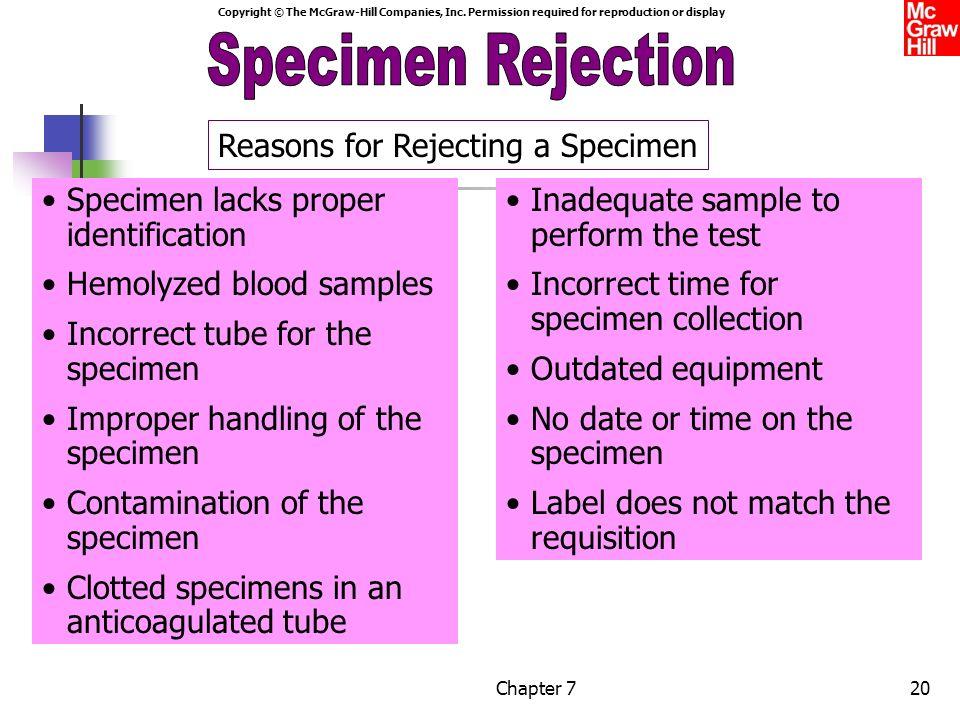 Specimen Rejection Specimen Rejection Reasons for Rejecting a Specimen