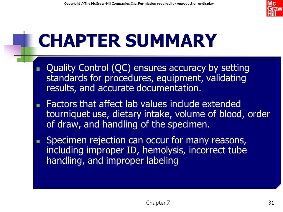 CHAPTER SUMMARY Quality Control (QC) ensures accuracy by setting standards for procedures, equipment, validating results, and accurate documentation.
