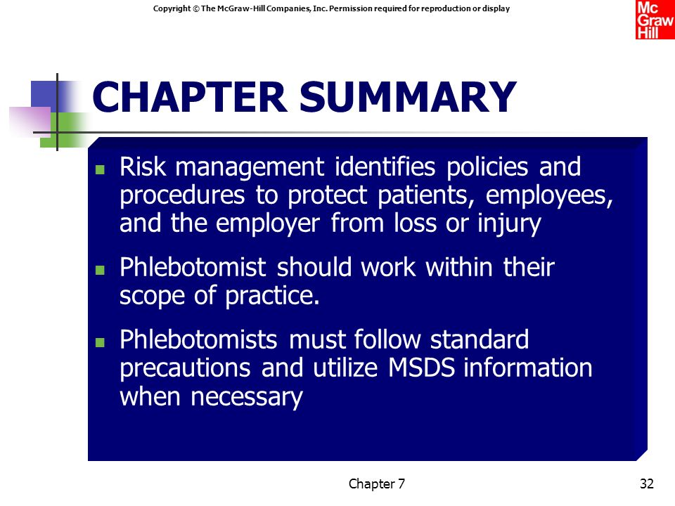 CHAPTER SUMMARY Risk management identifies policies and procedures to protect patients, employees, and the employer from loss or injury.