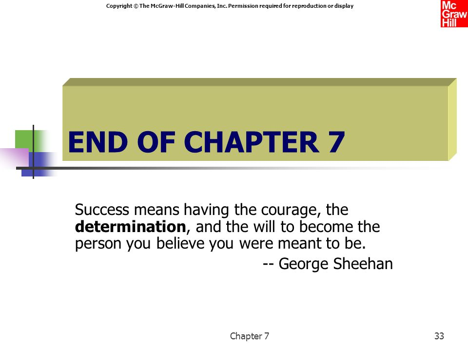 END OF CHAPTER 7 Success means having the courage, the determination, and the will to become the person you believe you were meant to be.