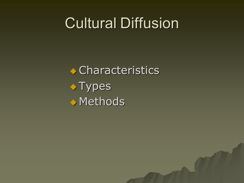 what is cultural diffusion essay The process of cultural diffusion disclaimer: this essay has globalization has brought everything closer and that has.