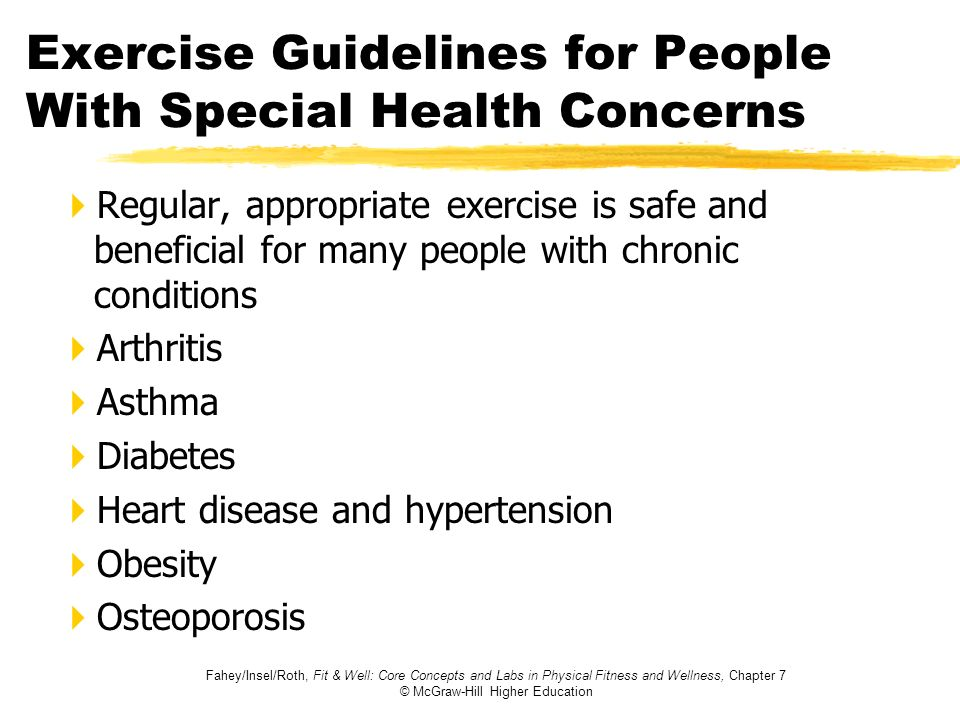 Exercise Guidelines for People With Special Health Concerns