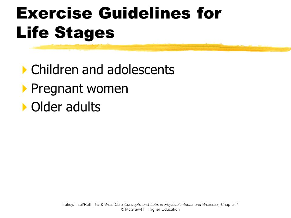 Exercise Guidelines for Life Stages
