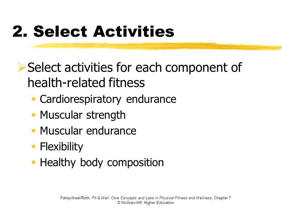 2. Select ActivitiesSelect activities for each component of health-related fitness. Cardiorespiratory endurance.