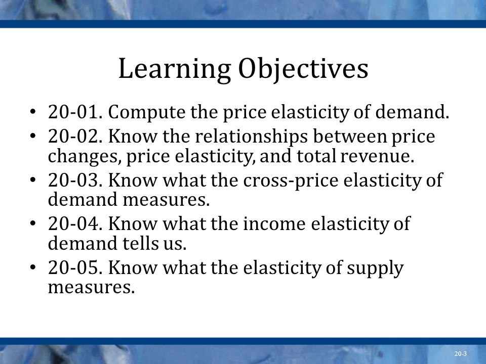 Learning Objectives 20-01. Compute the price elasticity of demand.