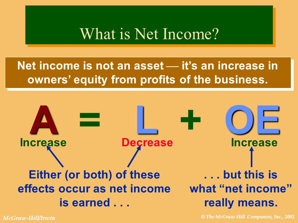 A = L + OE What is Net Income