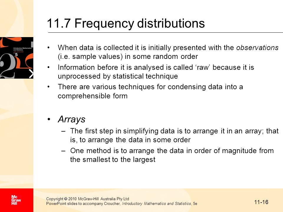 11.7 Frequency distributions