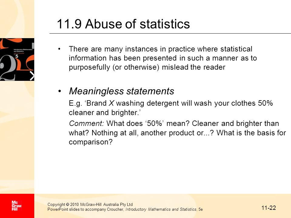11.9 Abuse of statistics Meaningless statements
