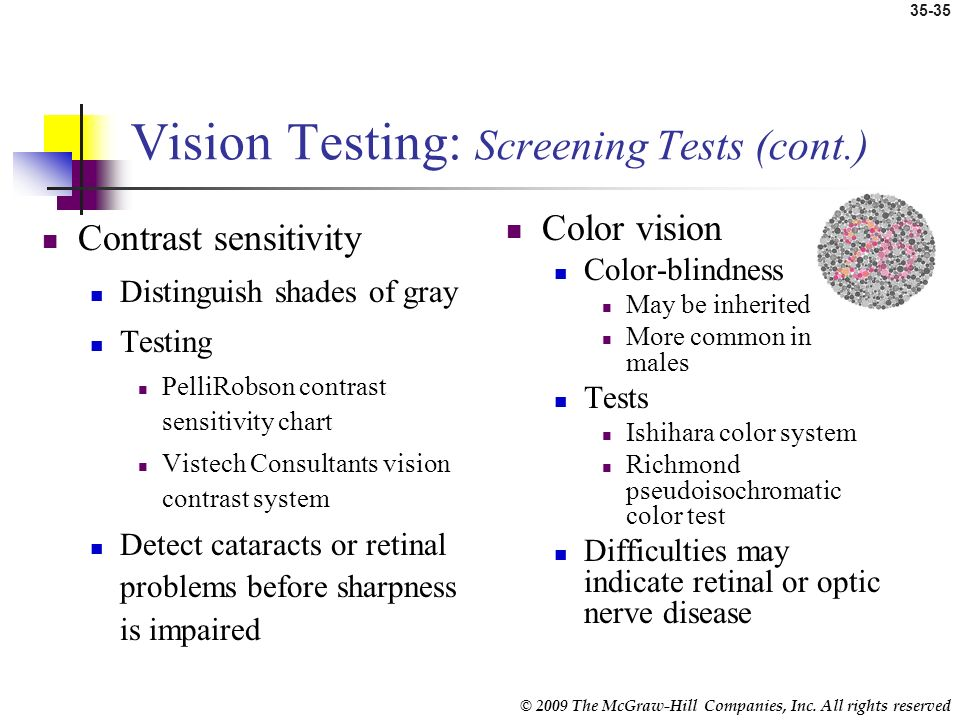 Vision Testing: Screening Tests (cont.)