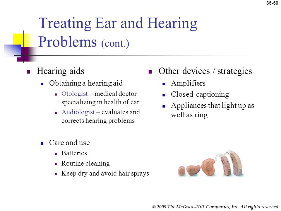 Treating Ear and Hearing Problems (cont.)
