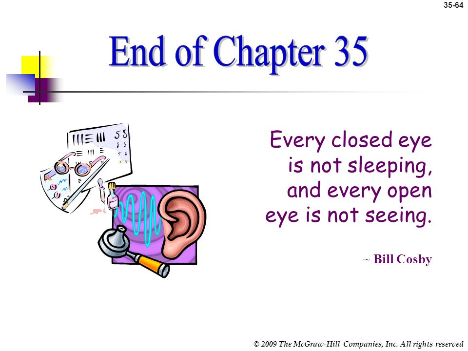 End of Chapter End of Chapter 35. Every closed eye is not sleeping, and every open eye is not seeing.
