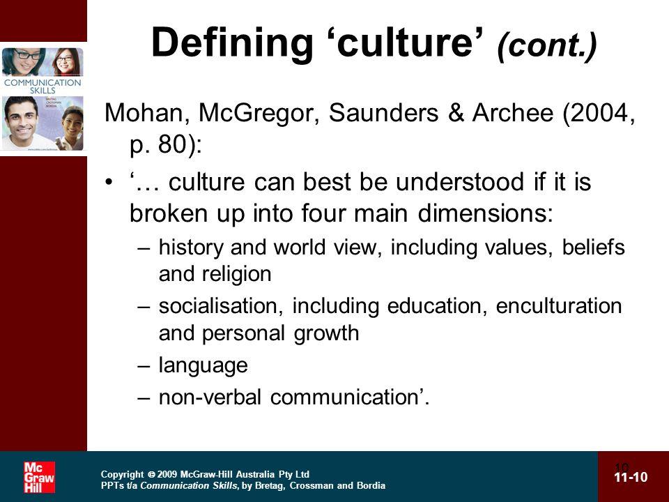 Defining 'culture' (cont.)