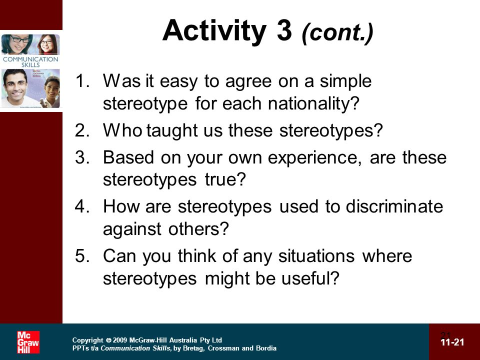 Activity 3 (cont.) Was it easy to agree on a simple stereotype for each nationality Who taught us these stereotypes