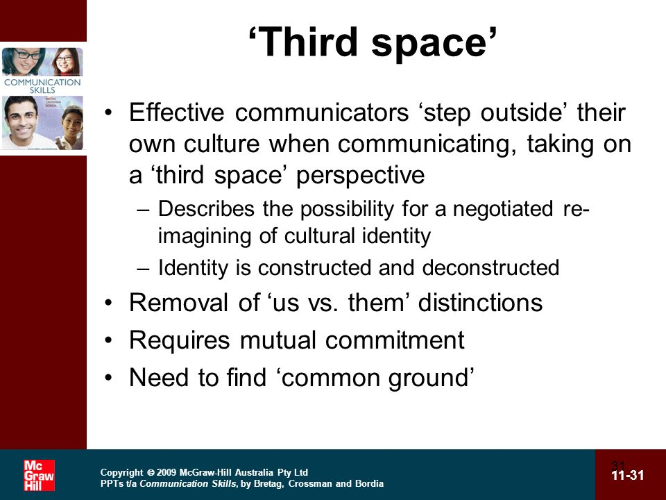'Third space' Effective communicators 'step outside' their own culture when communicating, taking on a 'third space' perspective.