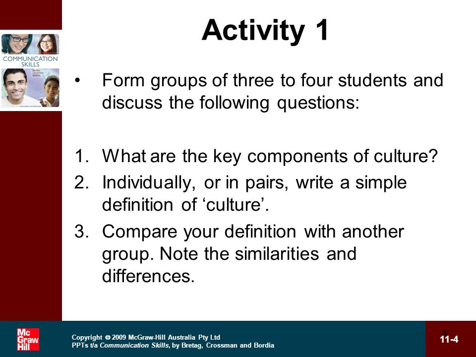 Activity 1 Form groups of three to four students and discuss the following questions: What are the key components of culture