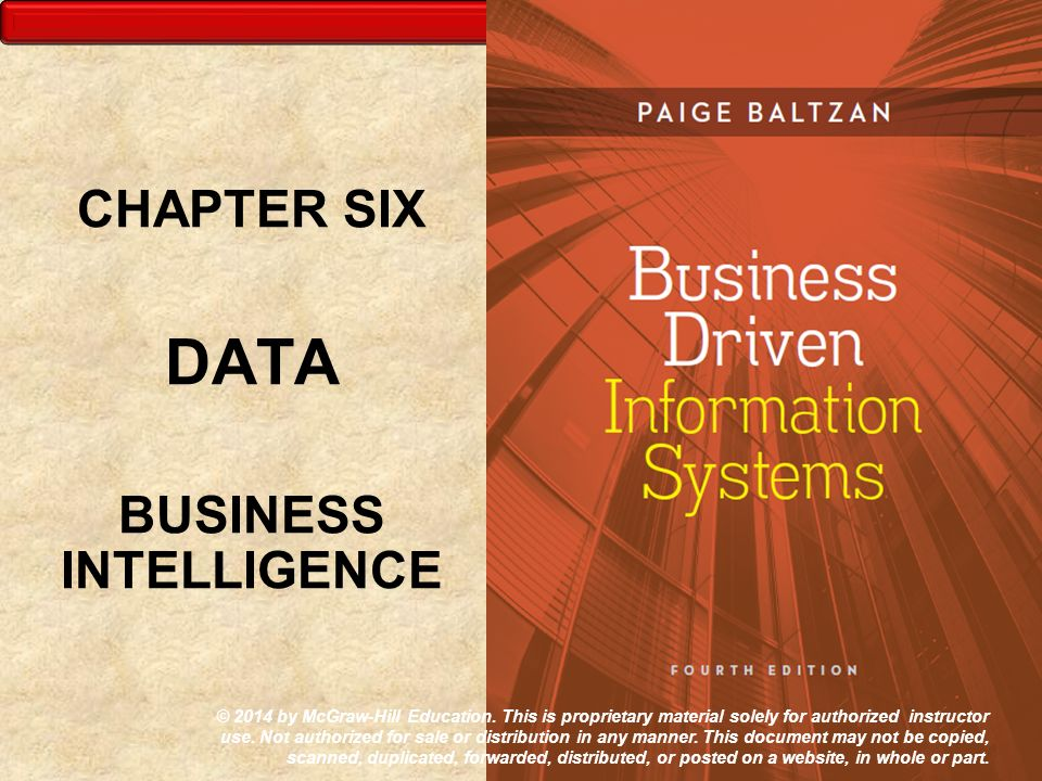 CHAPTER SIX DATA BUSINESS INTELLIGENCE