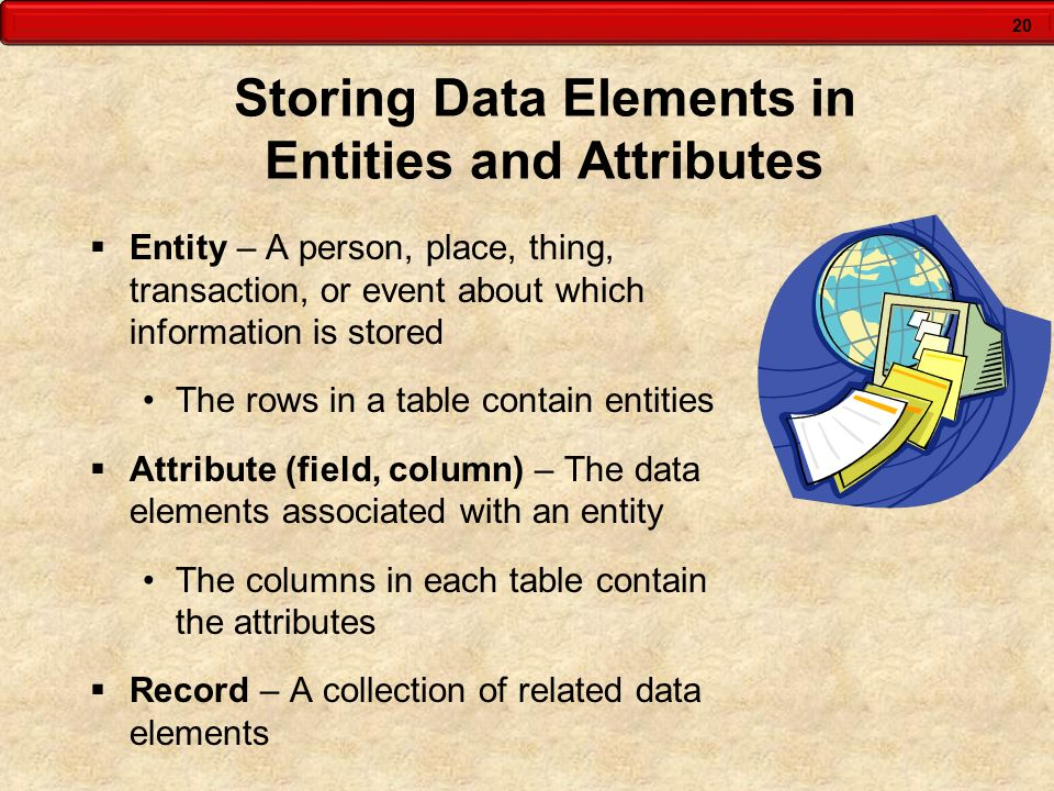 Storing Data Elements in Entities and Attributes