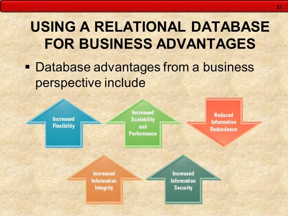 USING A RELATIONAL DATABASE FOR BUSINESS ADVANTAGES