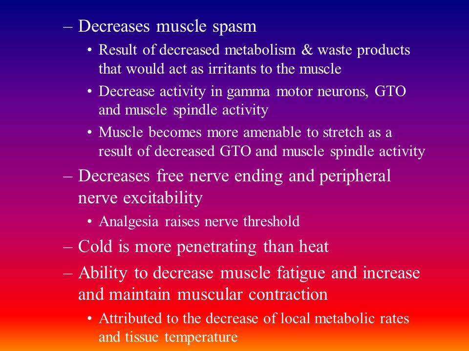 Decreases muscle spasm