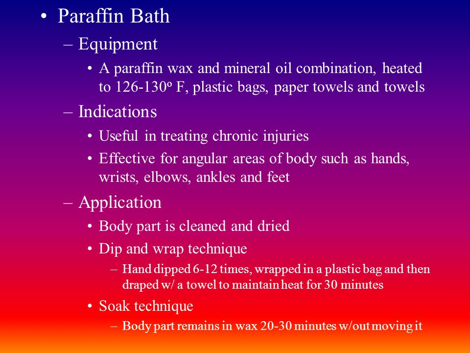 Paraffin Bath Equipment Indications Application