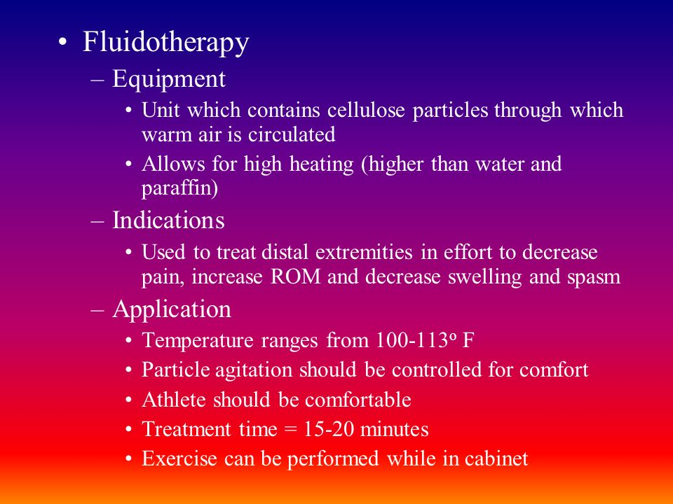 Fluidotherapy Equipment Indications Application