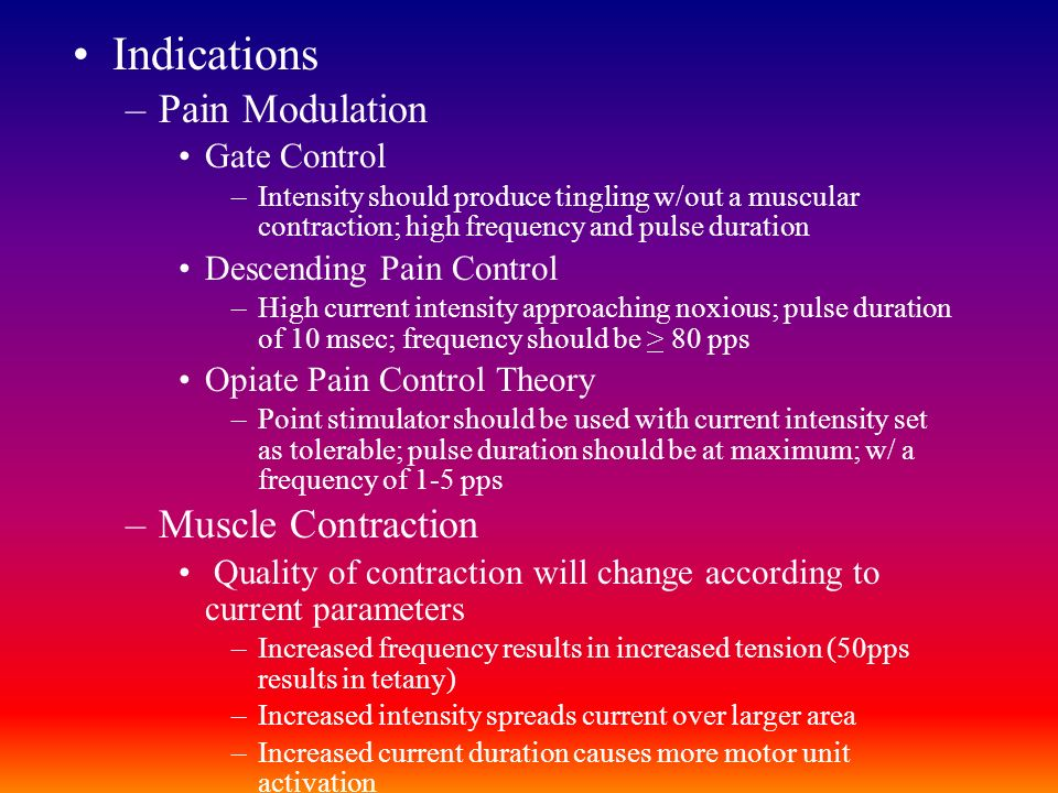 Indications Pain Modulation Muscle Contraction Gate Control
