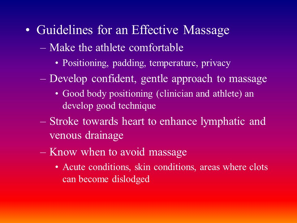 Guidelines for an Effective Massage
