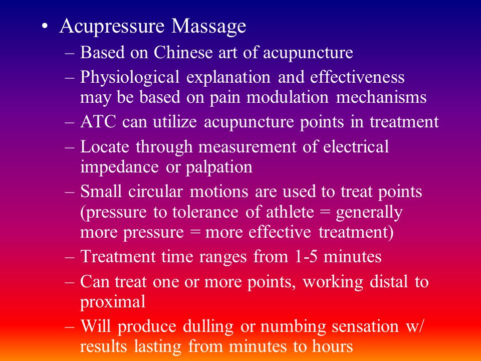 Acupressure Massage Based on Chinese art of acupuncture