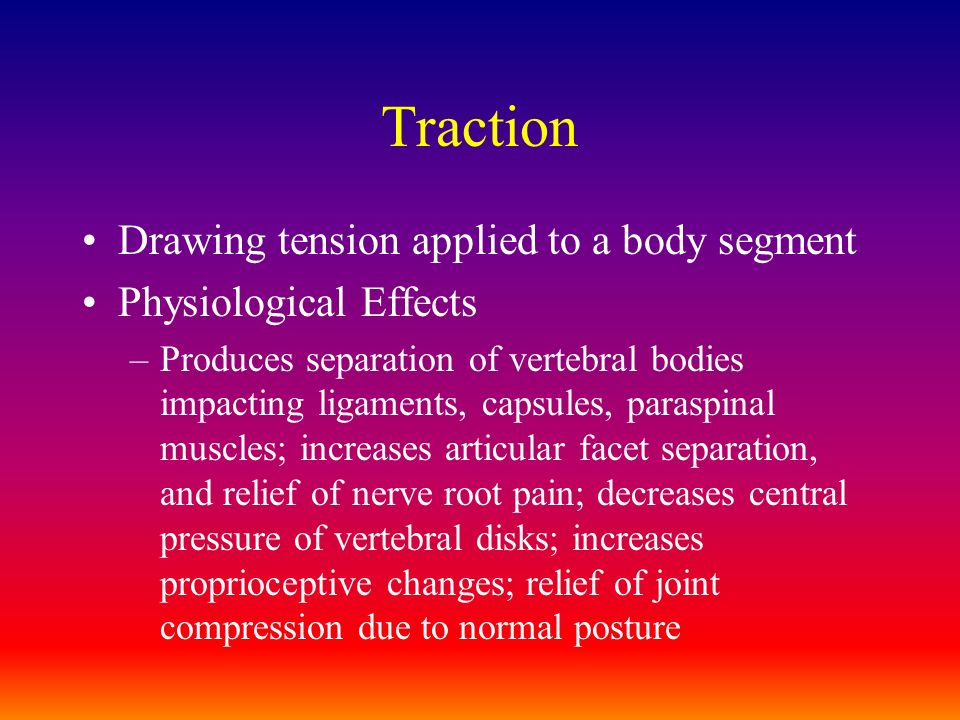 Traction Drawing tension applied to a body segment