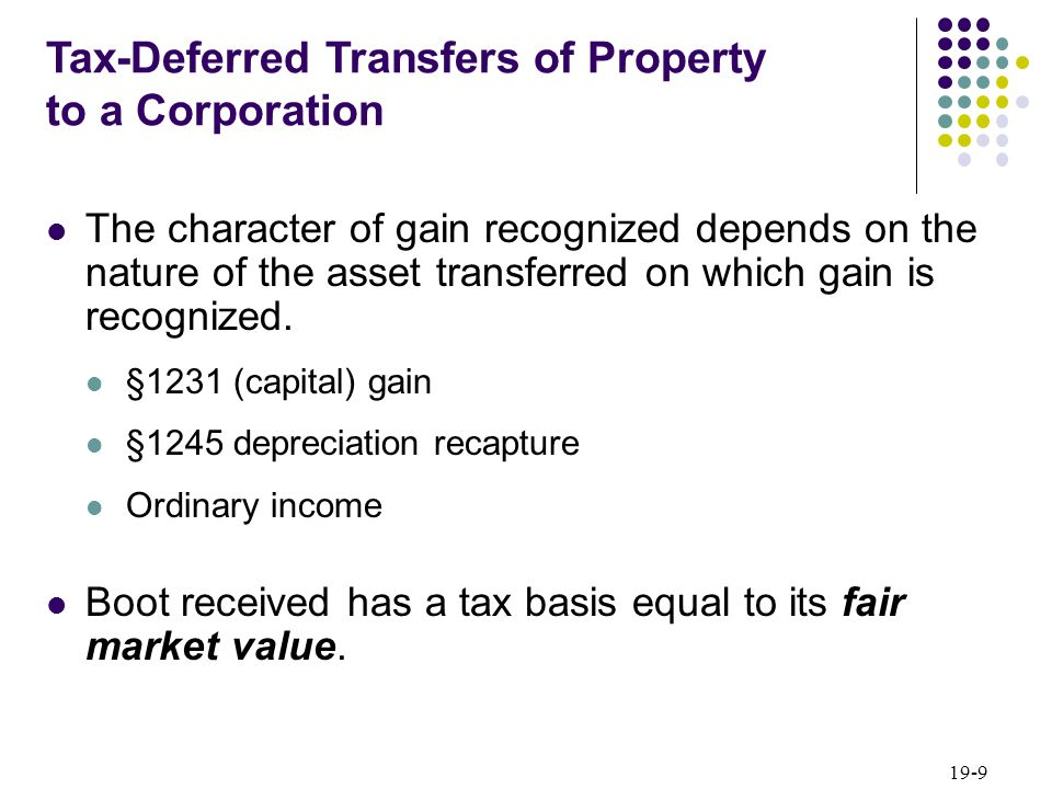 Tax-Deferred Transfers of Property to a Corporation