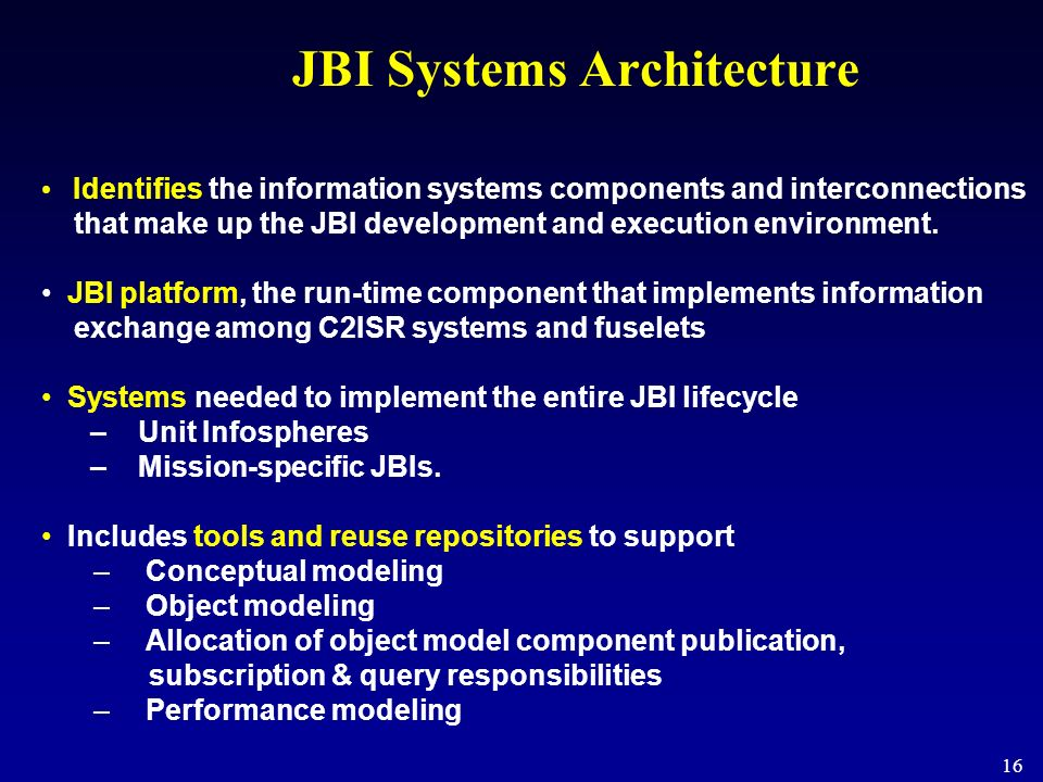 JBI Systems Architecture