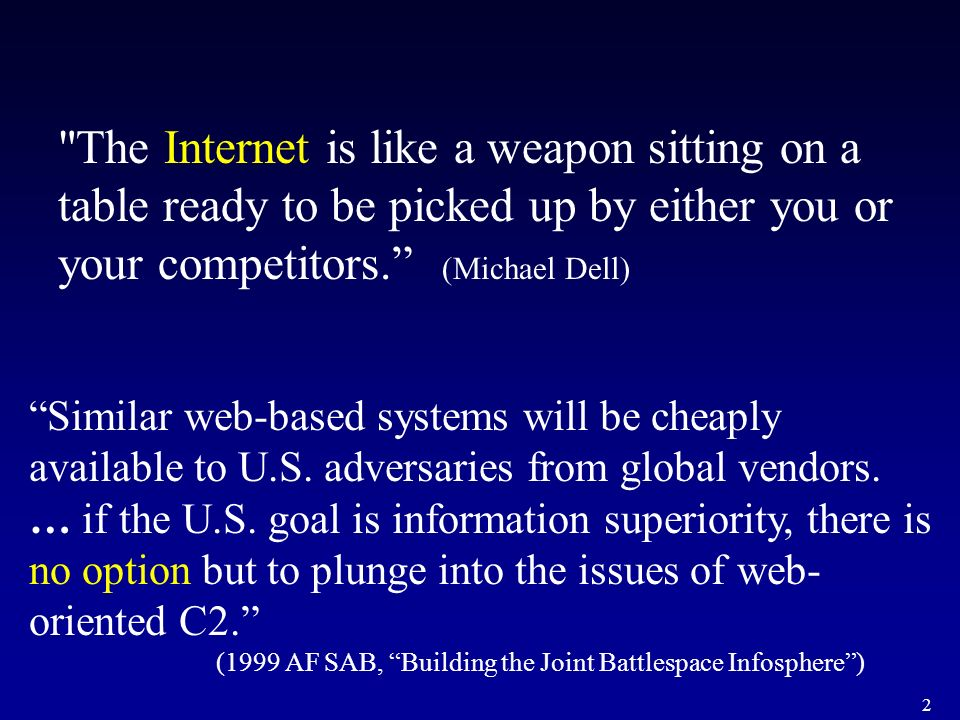 The Internet is like a weapon sitting on a table ready to be picked up by either you or your competitors. (Michael Dell)