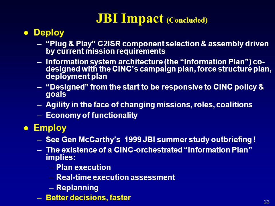 JBI Impact (Concluded)