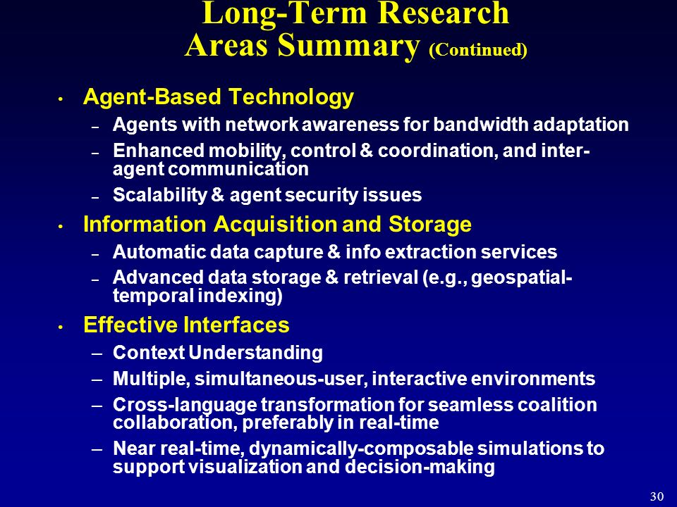 Long-Term Research Areas Summary (Continued)