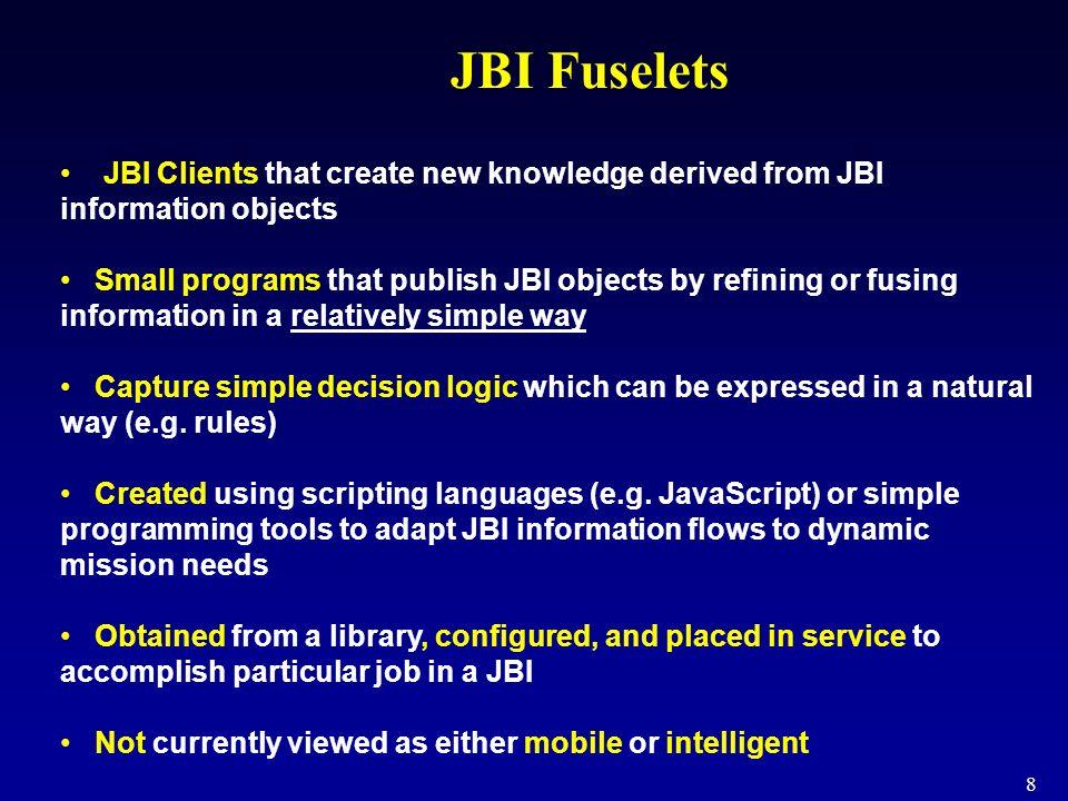 JBI Fuselets JBI Clients that create new knowledge derived from JBI information objects.