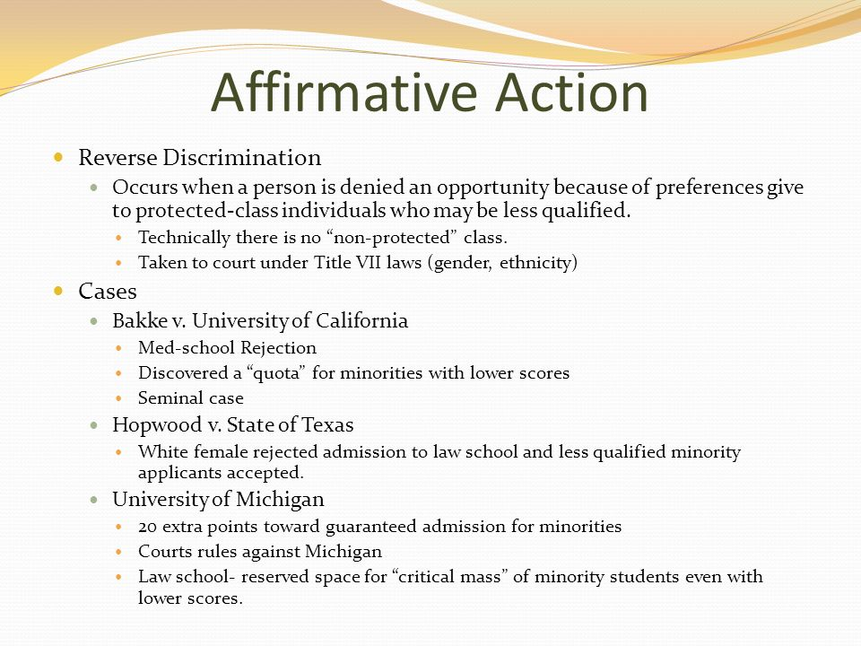 affirmative action or reverse discrimination [2] supreme court: if affirmative action is banned, what happens at colleges   answered: is affirmative action a doublespeak term for reverse discrimination.