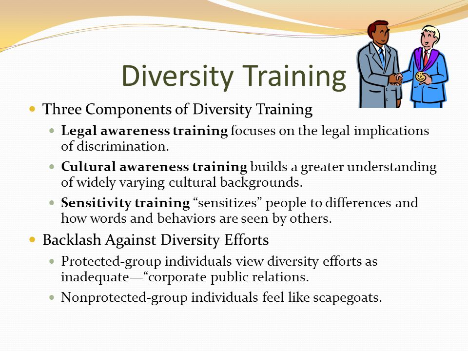 employment and diversity training Diversity in the workplace is a people issue, which focuses on the similarities and differences between people in an organization diversity in the workplace is typically defined largely to include different aspects beyond those legally specified in affirmative action non-discrimination statutes and equal opportunity.