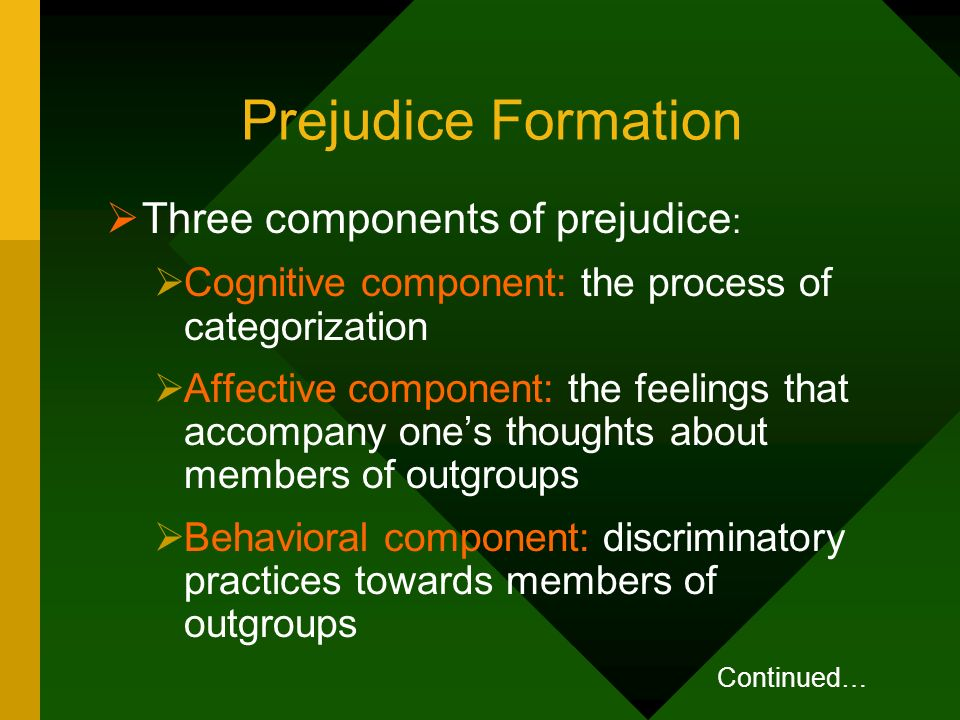 Prejudice Formation Three components of prejudice: