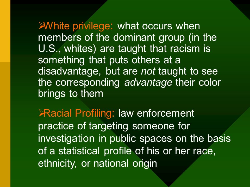 White privilege: what occurs when members of the dominant group (in the U.S., whites) are taught that racism is something that puts others at a disadvantage, but are not taught to see the corresponding advantage their color brings to them