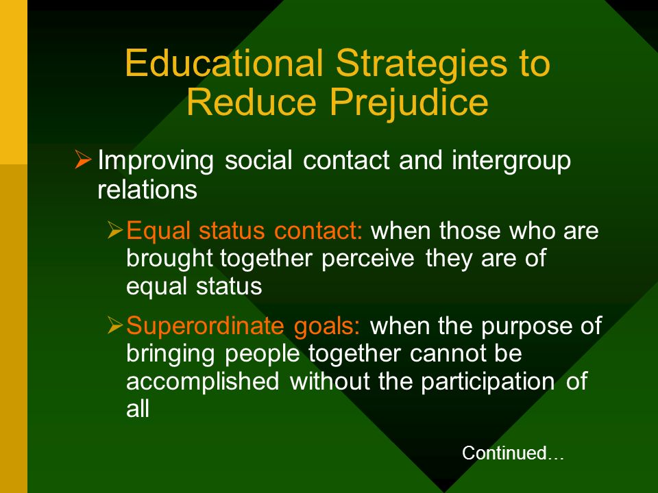 Educational Strategies to Reduce Prejudice