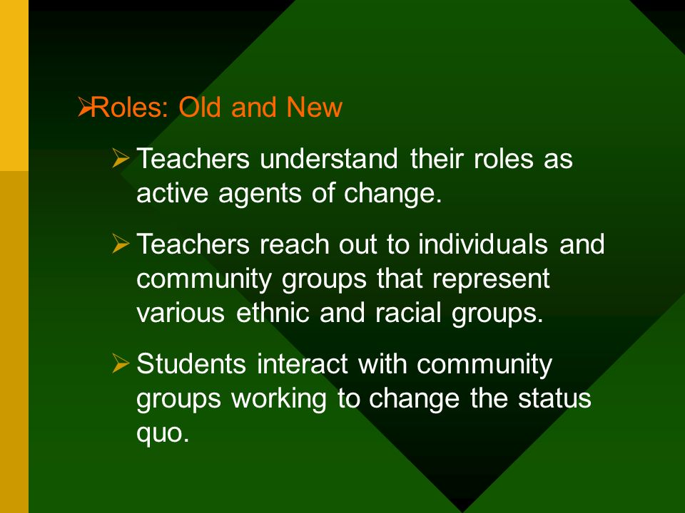 Roles: Old and New Teachers understand their roles as active agents of change.
