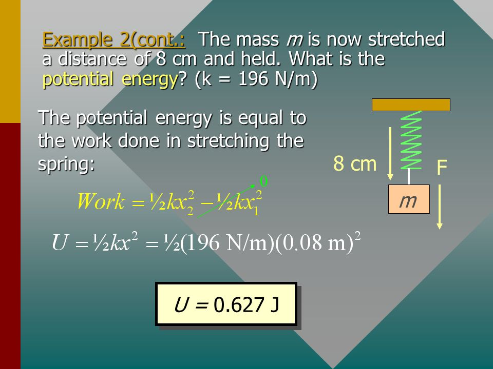 Example 2(cont.: The mass m is now stretched a distance of 8 cm and held. What is the potential energy (k = 196 N/m)