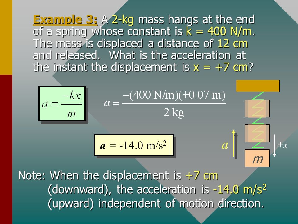 Example 3: A 2-kg mass hangs at the end of a spring whose constant is k = 400 N/m. The mass is displaced a distance of 12 cm and released. What is the acceleration at the instant the displacement is x = +7 cm