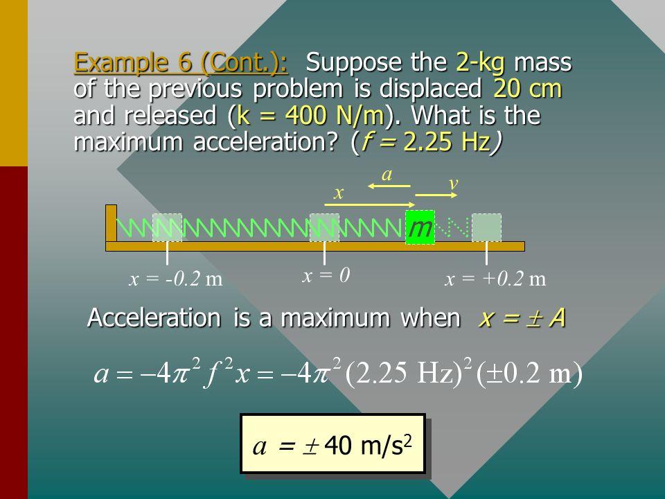 Acceleration is a maximum when x =  A