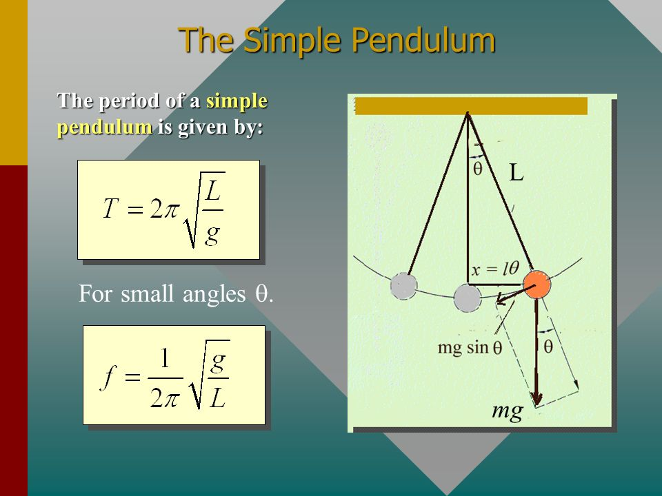 The Simple Pendulum L For small angles q. mg